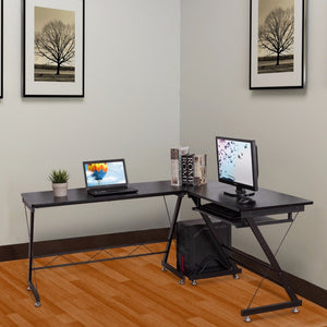 Goplus L-Shape Corner Computer Desk with Keyboard Shelf