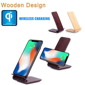 Wooden Design 2-Coil Charging Station Wireless Charger Charging Stand For Iphone 8/8 Plus/X Qi Mobile Cell Phone Smartphone