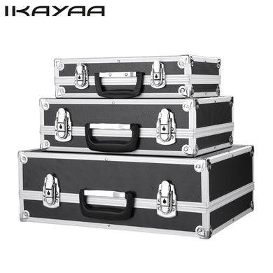 iKayaa 3PCS Portable Multi-purpose Tool Box Hard Aluminum Frame Carrying Case Locking Tool Storage Case With Handle