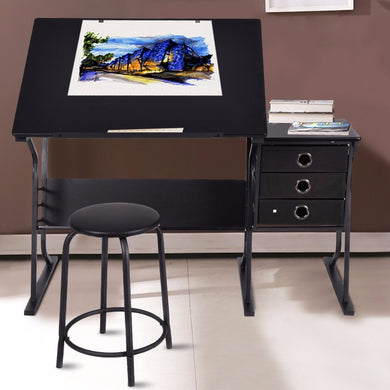 Giantex Adjustable Desk with Stool & Drawers