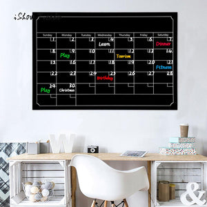 Chalkboard Wall Sticker Dry Erase Board Waterproof Blackboard Month Calendar