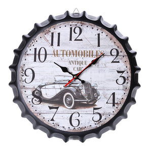 Vintage Style Wood Wall Clock Silent Antique  Bottle Caps Shape Non-Ticking Silent Antique Wall Clock for Home Kitchen Office