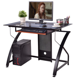 Giantex Computer Desk Glass Top PC Laptop Table Home Office Workstation with Pull-Out Keyboard Tray