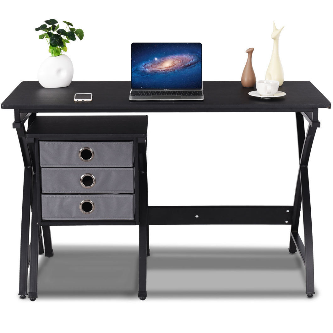 Giantex Computer Desk PC Laptop Table Modern Writing Study Workstation Home Office Furniture with 3 Drawers HW57070