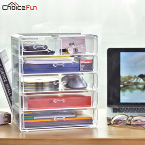 CHOICEFUN Large Multi Glossy Clear Acrylic Home Supplies Organizer Box Desktop Plastic 5 Drawers Home Office Storage For Desk