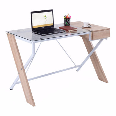 Giantex Computer Desk Laptop Table Glass Top Wood Metal Frame Home Office Furniture New Commercial Furniture HW52843