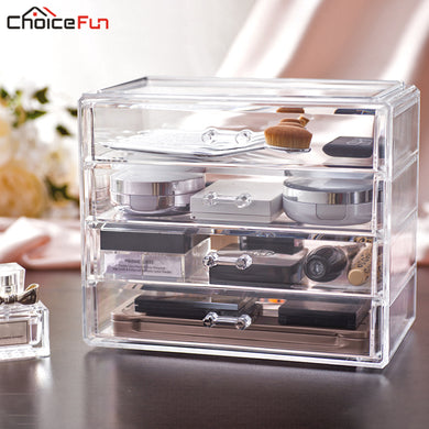CHOICE FUN Home Desktop 4 Drawers Organizer Clear Plastic