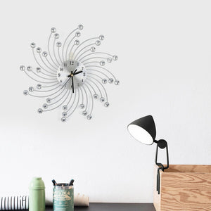 Silver Metal Diamond Decorated Wall Clock With Hook Home Office Room Modern Decor Wall Clock