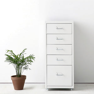 iKayaa Metal Storage Drawer Filing Cabinet Detachable Mobile Steel File Cabinets w/ 5 Drawers 4 Casters For Home Bar Cabinet