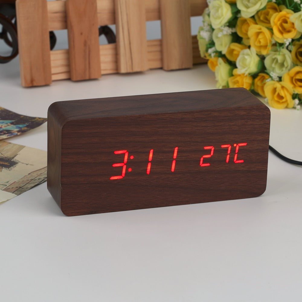 4 Colors Large Size LED Wooden Alarm Clocks with Thermometer Rectangle Table Clocks Digital Clock Classic LED Wooden Clocks