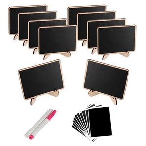 10Pcs DIY Assembled Mini Blackboard Set Wooden Message Black Board