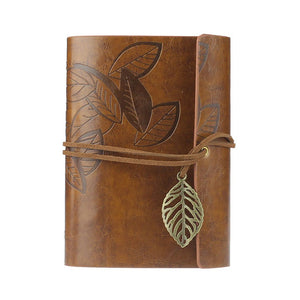 Vintage Leaf PU Leather Cover Loose Leaf Blank Notebook Journal Diary Pocket Size