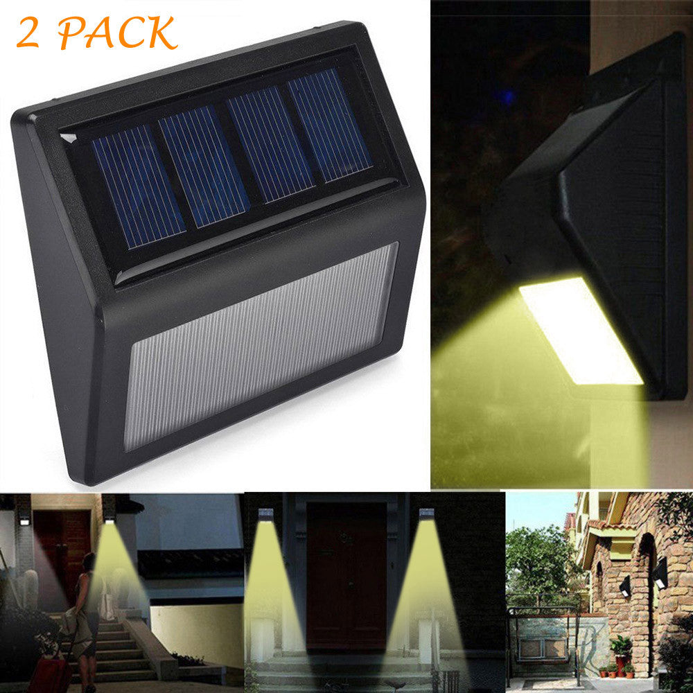 2 Pack Solar Optically Controlled Ligh LED Solar Power Light Sensor Wall Light Garden Step Stair Deck Lights Lamp Drop Shipping