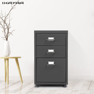 iKayaa Steel Mobile File Cabinet with 3 Drawers