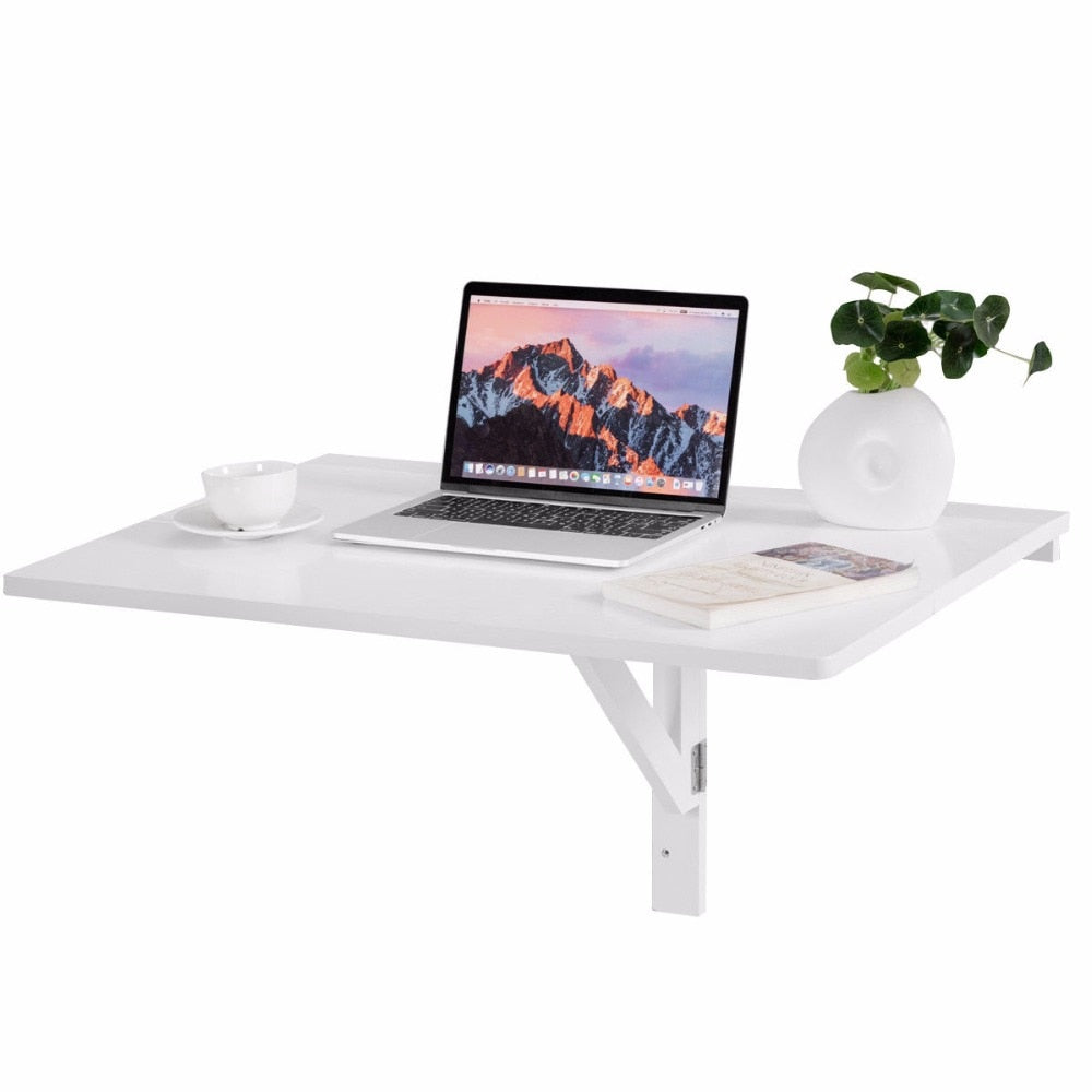 Giantex Wall-Mounted Drop-Leaf Space Saver White Computer Desk