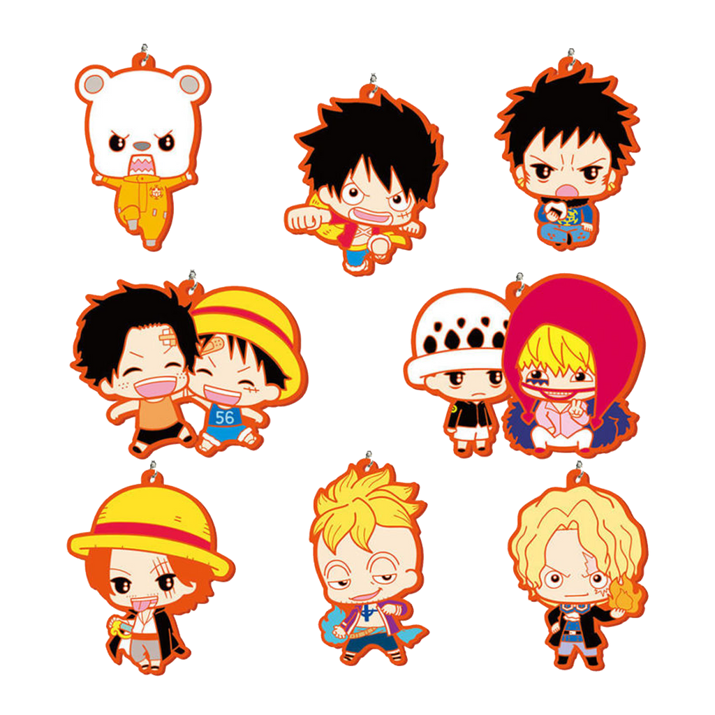Red rubber 8 pc chibi one piece set
