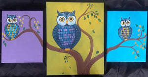 Family Paint - Owl Family Tree Painting - Essex Paint and Sip