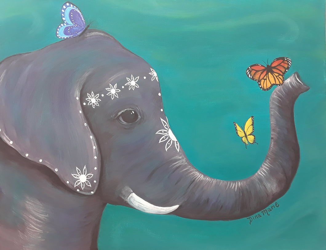 Happy Elephant Painting - Essex Paint and Sip