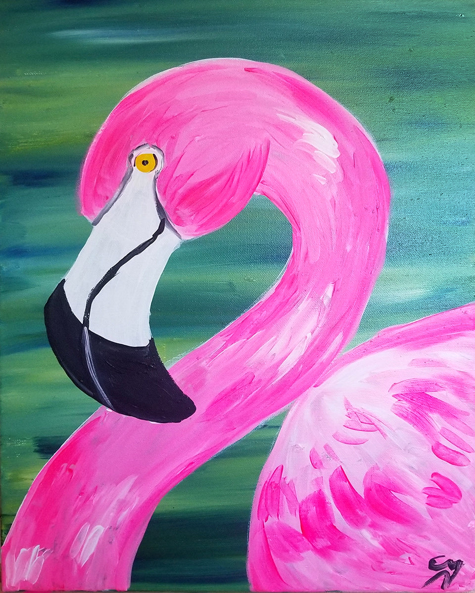 Cheeky Flamingo Paint Night - Essex Paint and Sip