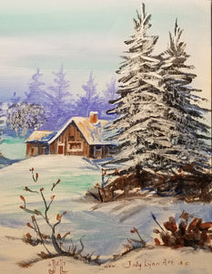 Coffee Hour Winter Cabin Painting - Essex Paint and Sip