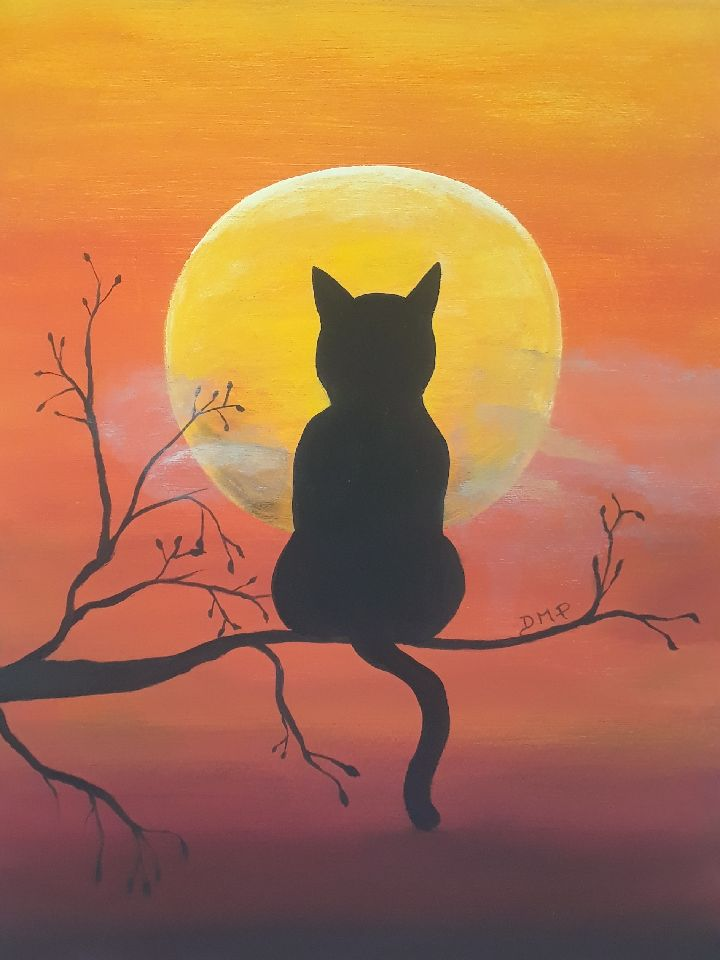 Full Moon Cat Painting - Essex Paint and Sip