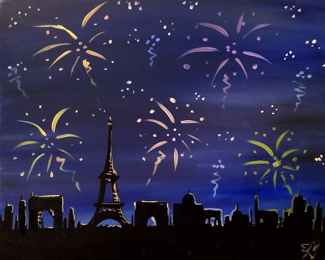 Fireworks Over Paris Paint Night - Essex Paint and Sip