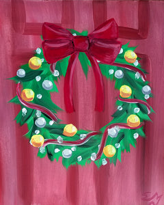 Holiday Wreath Painting - Essex Paint and Sip