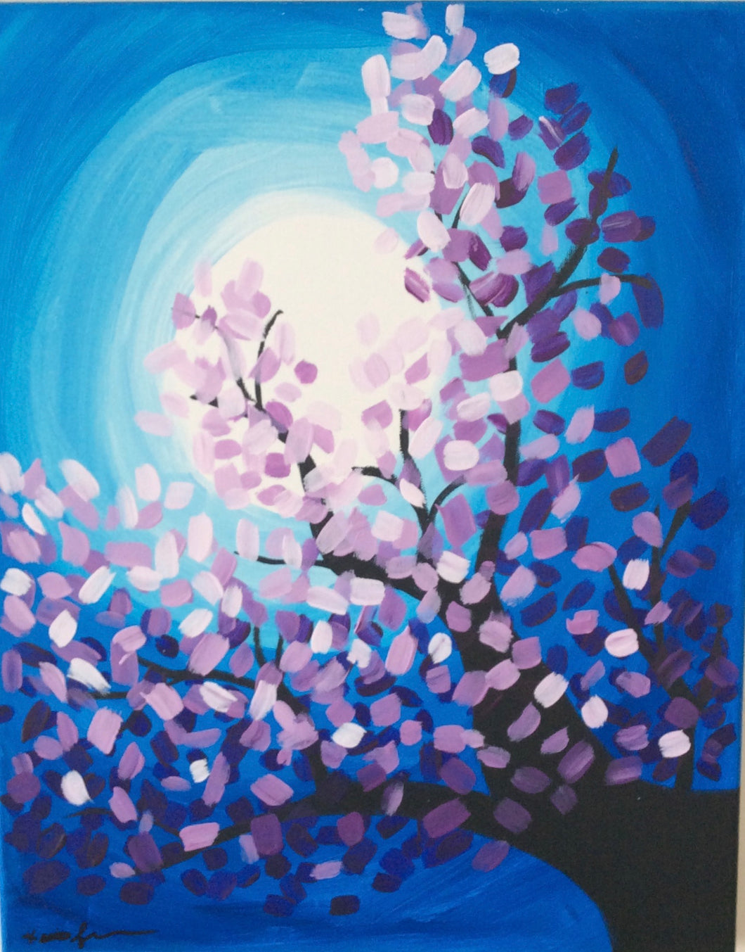 Moonlit Tree Painting - Essex Paint and Sip