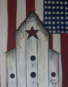 Patriotic Bird House Painting - Essex Paint and Sip