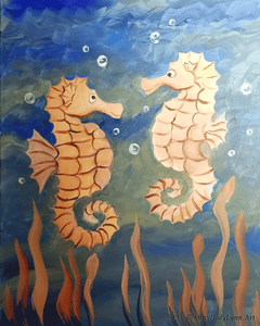 Seahorse Couple Paint Night - Essex Paint and Sip