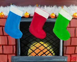 Fireplace Stockings Paint Night - Essex Paint and Sip