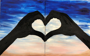 Sunset Heart Hands - Couples Painting - Essex Paint and Sip