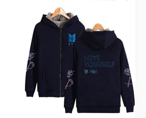 BTS Love Yourself Snowflake Zip-up Hoodie