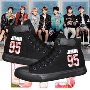 [BTS] BTS HIGH TOP SHOES FLOWER STYLE - Kpop FTW