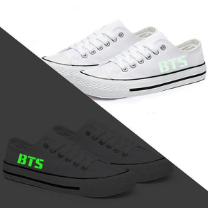 BTS CLASSIC WHITE CANVAS SHOES - Kpop FTW