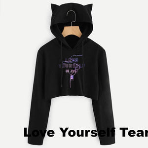 [BTS] LOVE YOURSELF CAT EARS HOOD CROP TOP