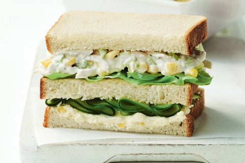 Chicken and corn stacked sandwich