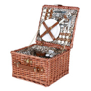 Avanti 2 Person Picnic Basket - Light Brown Half Willow With Leopard Pattern