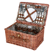 Avanti 4 Person Picnic Basket - Light Brown Half Willow With Leopard Pattern