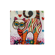 Maxwell & Williams Smile Style Ceramic Tile Coaster Tabby 9cm