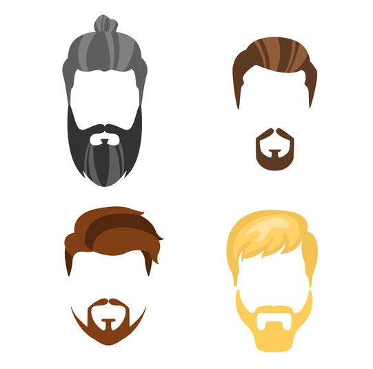 Different male hairstyles ranging from beards and mustaches to hipster types of haircuts in a vector illustration