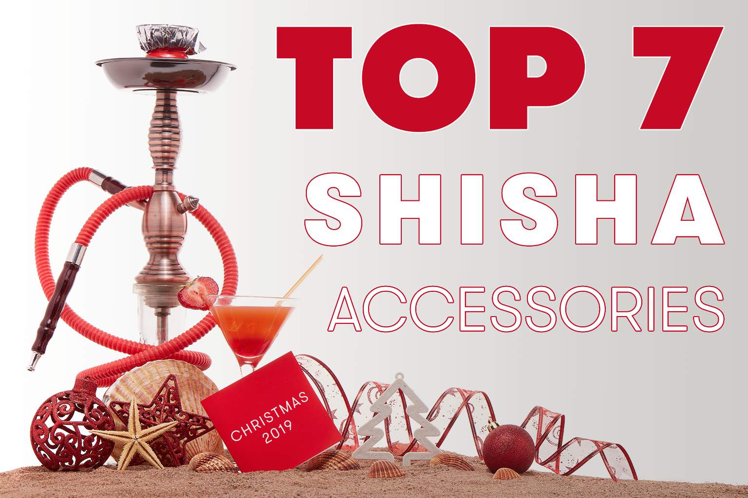 Image of Christmas hookah pipe at the beach in summer smoking shisha