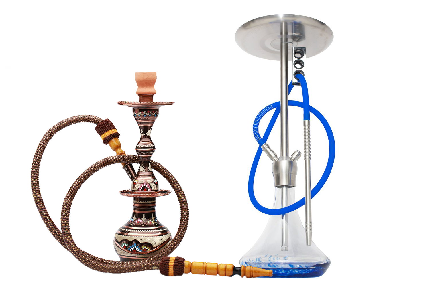 Image of traditional hookah pipe and Shisha Works modern hookah pipe