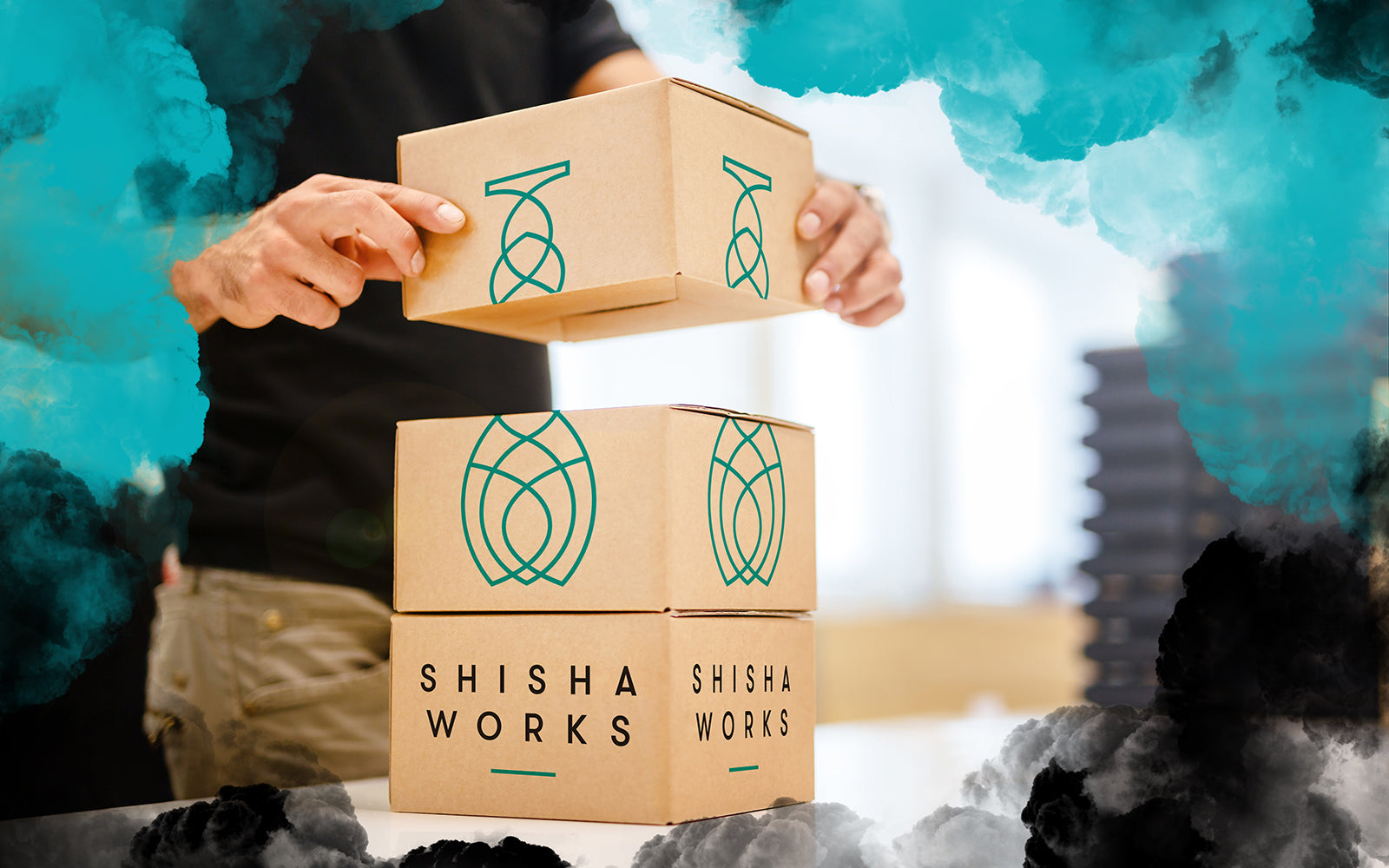 Image of Shisha Works packaging and boxes at warehouse