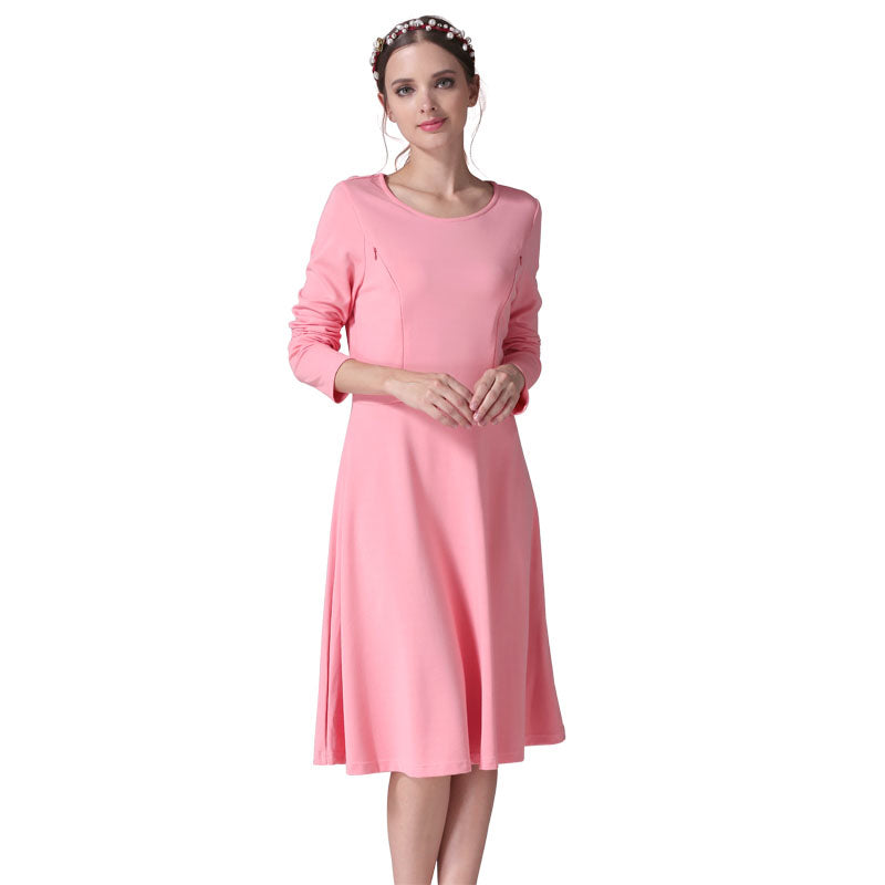9490871424fa9 O-neck Long Sleeve Nursing Breastfeeding Dress – FNMOMMY