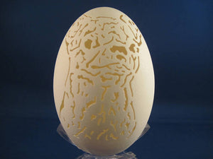Chihuahua Dog carved on a Goose Egg with clear plastic stand. Great Dog lovers gift.
