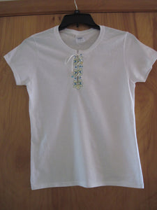 Lace Up Short Sleeved T-shirt with Embroidered Design
