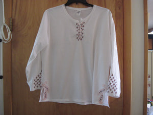 Embroidered Long Sleeve 100% Cotton T-Shirt with Lace Neck line and Cut Side Hems