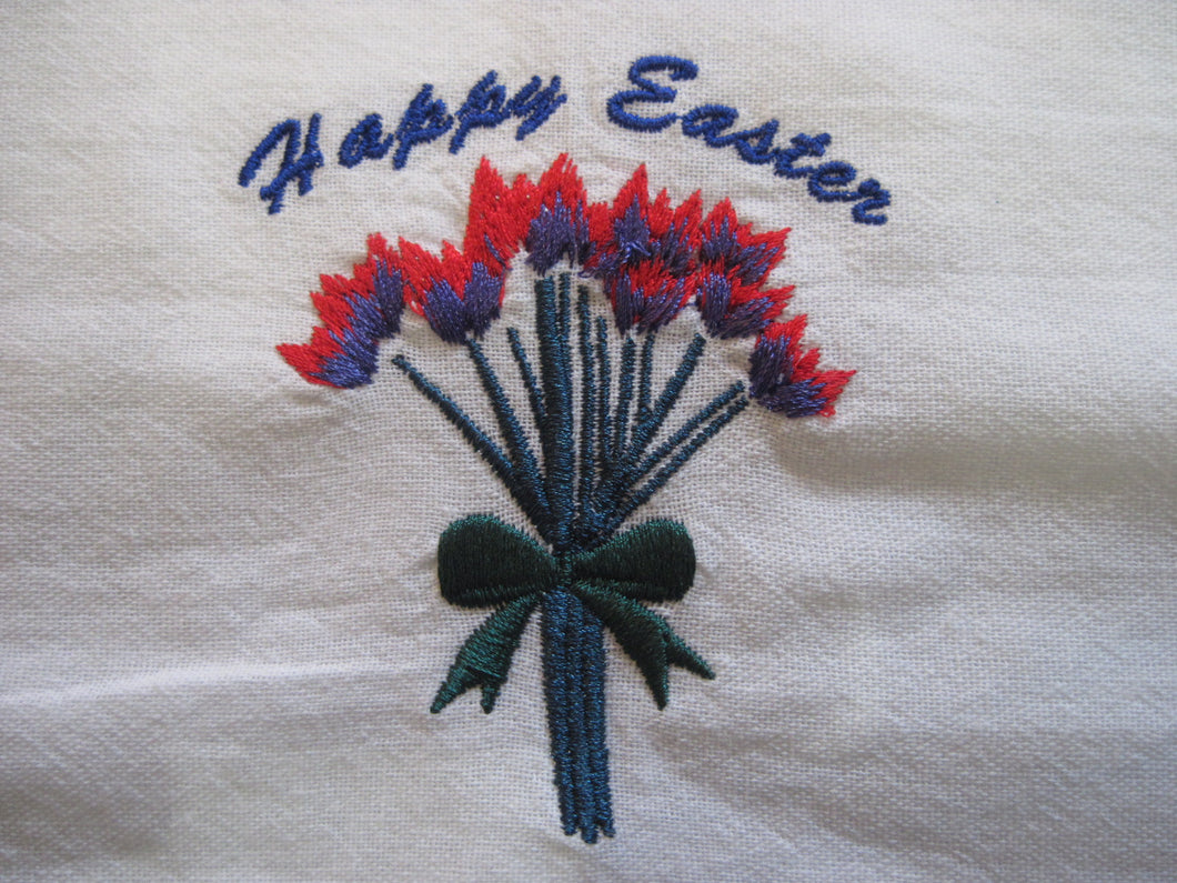 Embroidered Dish Towel with Easter Design
