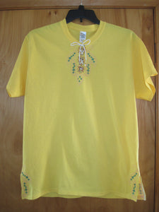 Embroidered T-Shirt with lace up neckline and embroidered on each side at hem line.
